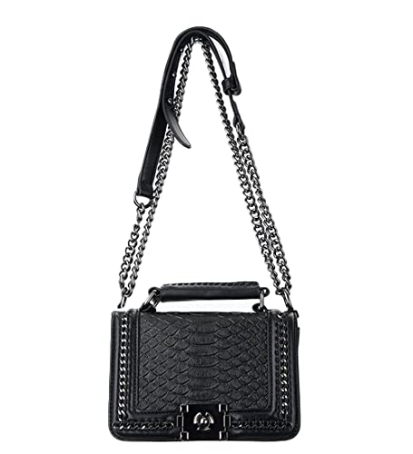 bfe49368ee1 Sheli Classic Black Mini Small Quilted Leather Bronze Chain Handbag  Shoulder Bag Purse