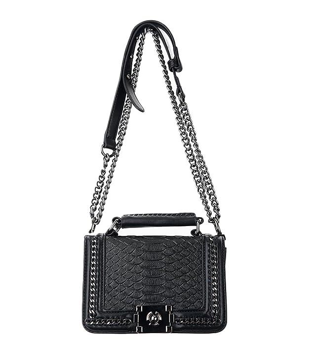 Sheli Clásico negro mini pequeño acolchado de cuero de bronce cadena bolsa de hombro bolso: Amazon.es: Zapatos y complementos