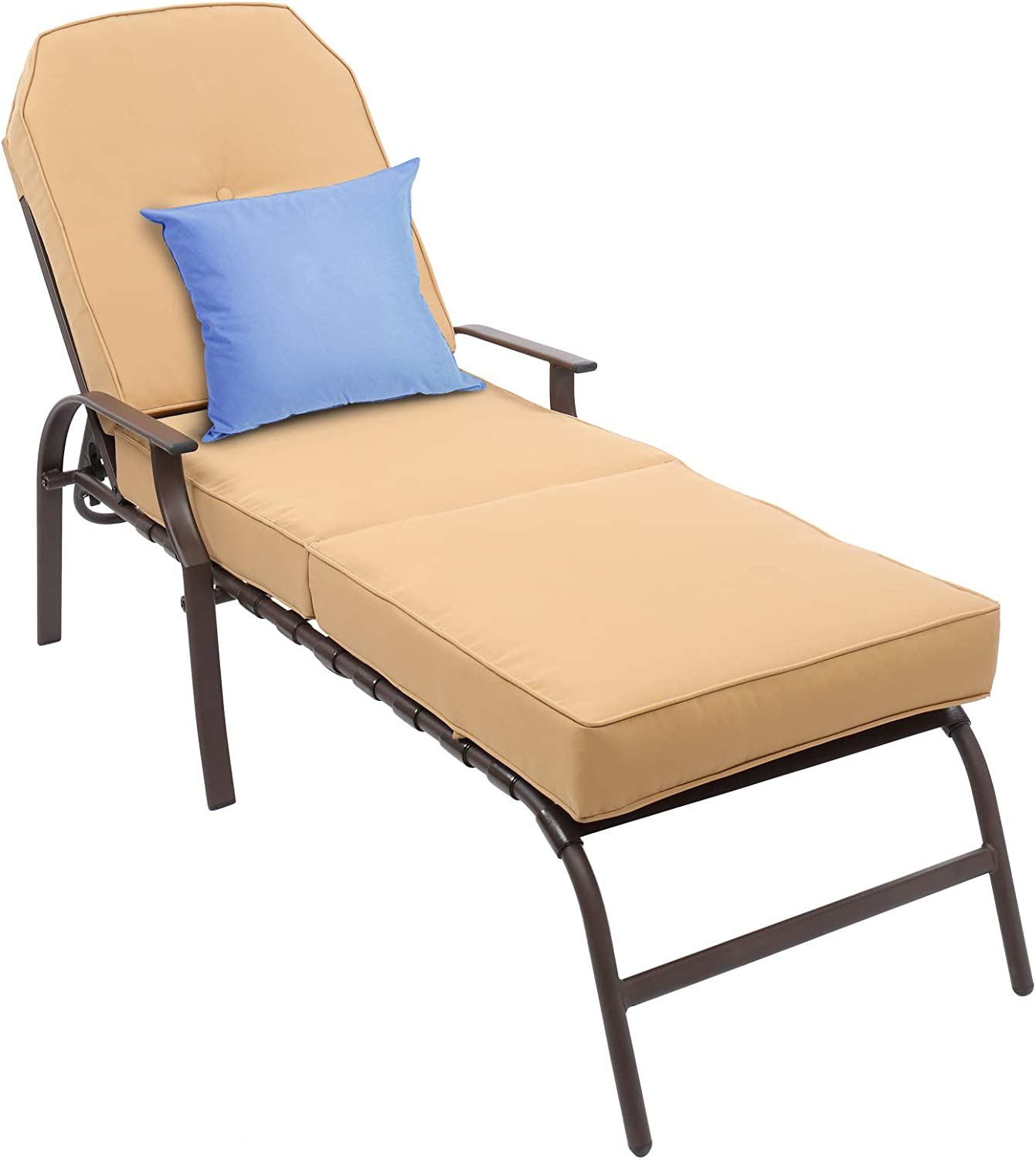 VINGLI Upgraded Patio Metal Chaise Lounge Chairs, Adjustable 5 Positions Steel Chairs with UV-Resistant Cushions for Pool, Yard, Balcony, Lawn