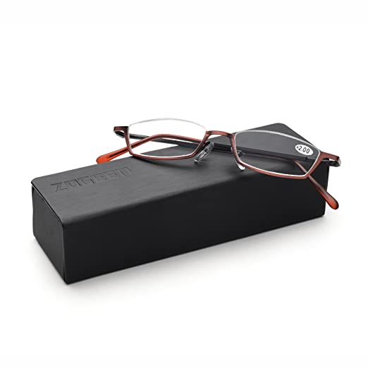 8c03a5f6b1 ZUVGEES Vintage Alloy Semi Rimless Reading Glasses Men Women Half Frame  Slim Glasses with Stylish Case