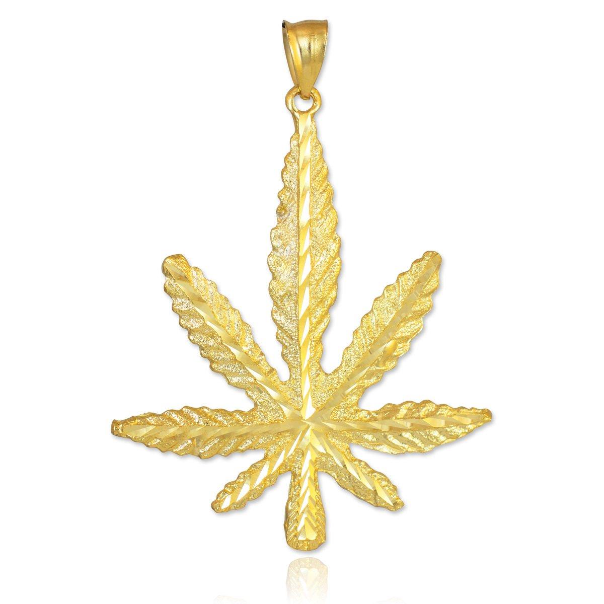 Good Luck Charms Solid 10k Yellow Gold High Polish 420 Pot Ganja Weed Cannabis Charm Marijuana Leaf Pendant