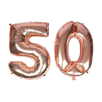 Globo gigante de oro rosa, número 50, 40 Mylar Foil Numero Globos