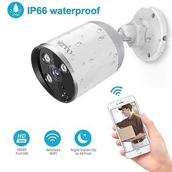 WZTO Camaras de Vigilancia WiFi Exterior, Cámara IP Wi-Fi HD 1080P Inalámbrica Visión Nocturna por Infrarrojos de hasta 98 Pies con Detección de ...