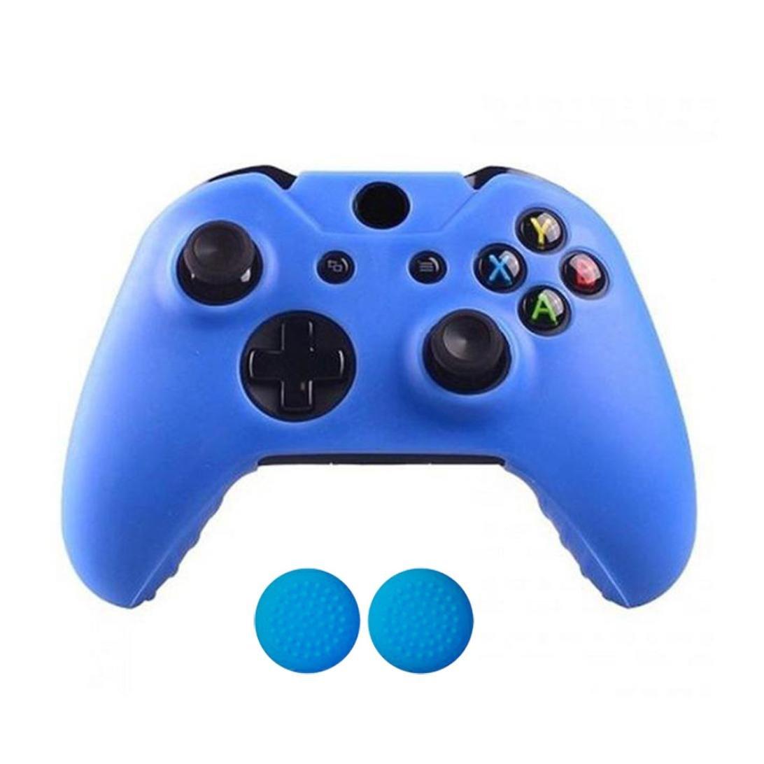 SUKEQ New 1 PC Silicone Cover Case Skin & 2 PC Grip Stick Caps Set for Xbox One Wireless Controller (Blue)