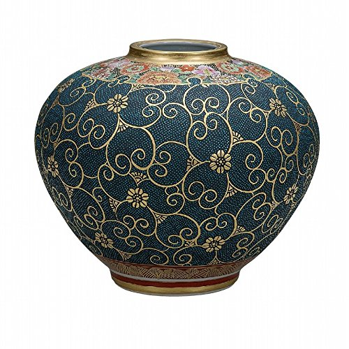 Jpanese traditional ceramic Kutani ware. Ikebana flower vase. Funds blue dott flowers. With wooden box. ktn-K5-1337
