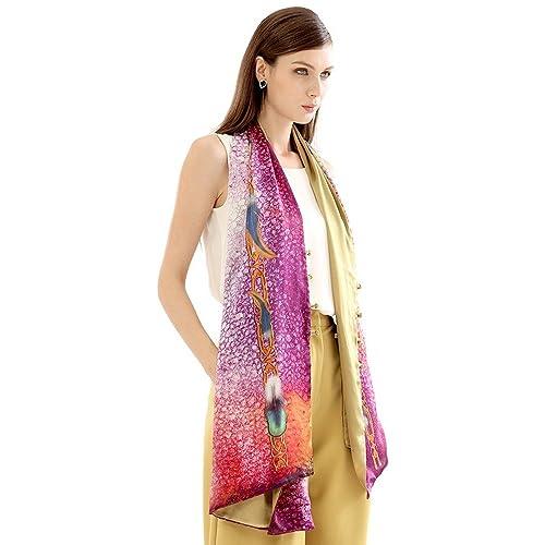 Bufandas mujer de lujo de 100% seda Chiffon Imprimir cosida a mano mantón(182cmx65cm)