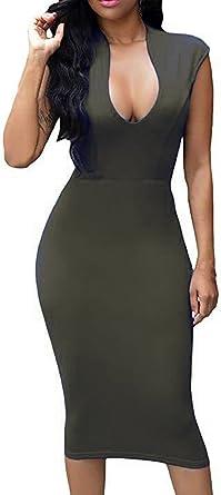 HUUSA Womens Low V Neck Sleeveless Bodycon Cocktail Party Midi Dress