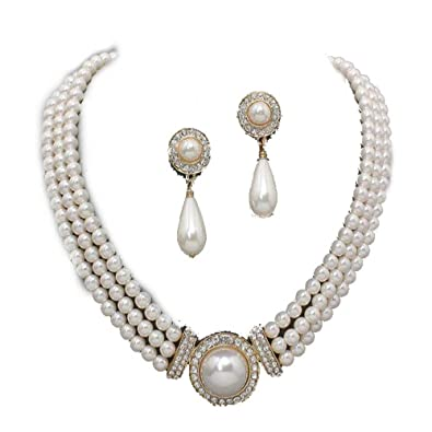 Three row gold pearl/diamante gold plated necklace set XEfNQ416