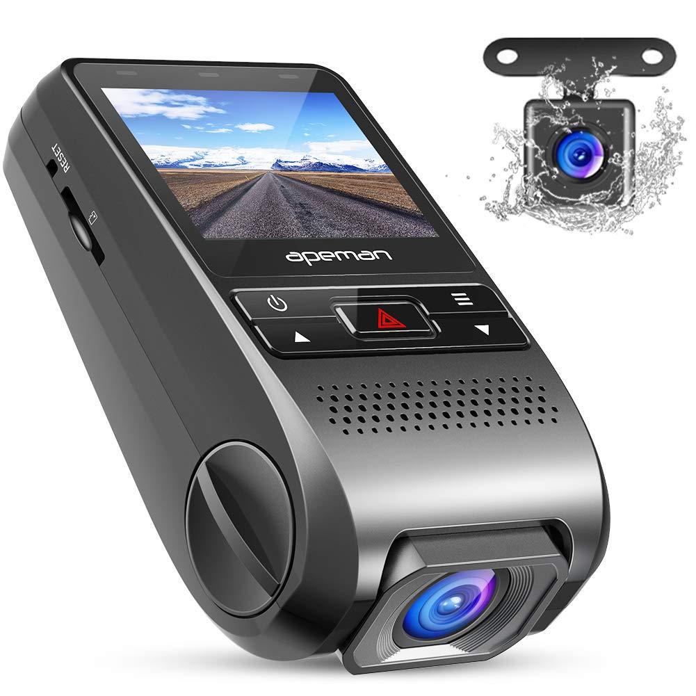 APEMAN Cámara de Coche 1080p Full HD Dashcam con Doble Cámaras Caja Negra con Lente de