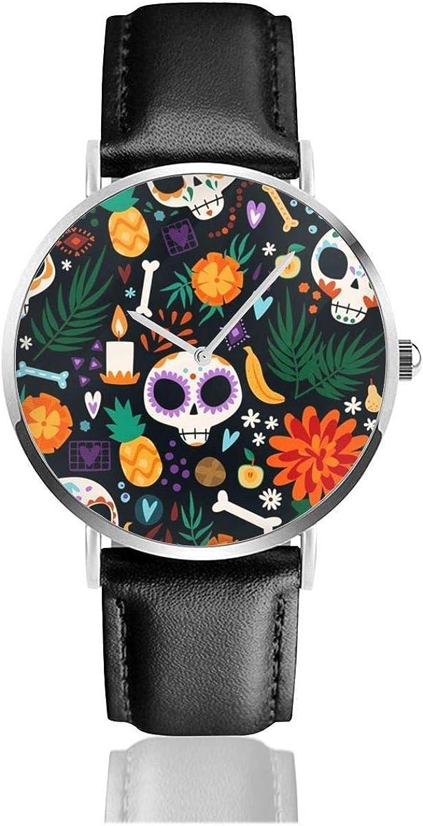 Dia De Los Muertos Día Festivo Movimiento de Cuarzo Negro Relojes con Correa de Cuero de Acero Inoxidable Relojes de Pulsera de Moda Casual