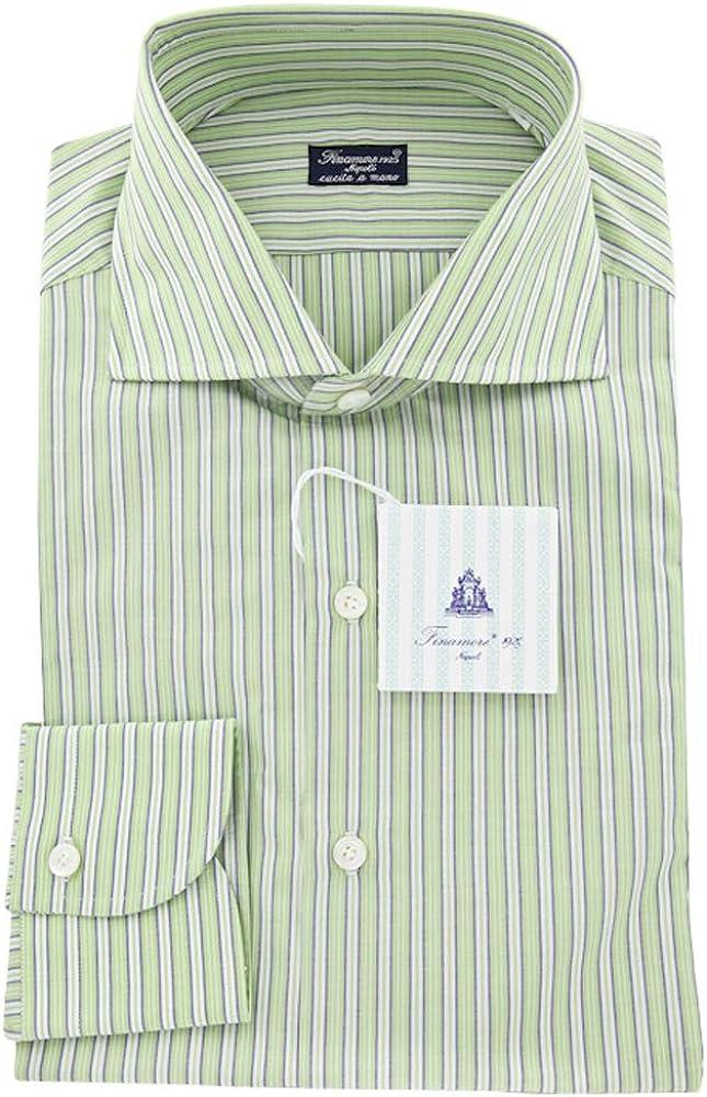 Size Medium 16 Finamore Napoli Green Solid Button Down Cutaway Collar Cotton Slim Fit Dress Shirt