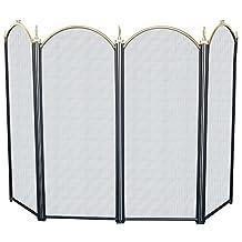 Amagabeli 4-panel Fireplace Screens Modern Decorative Wrought Iron Black Firescreen 32-inch High by Amagabeli