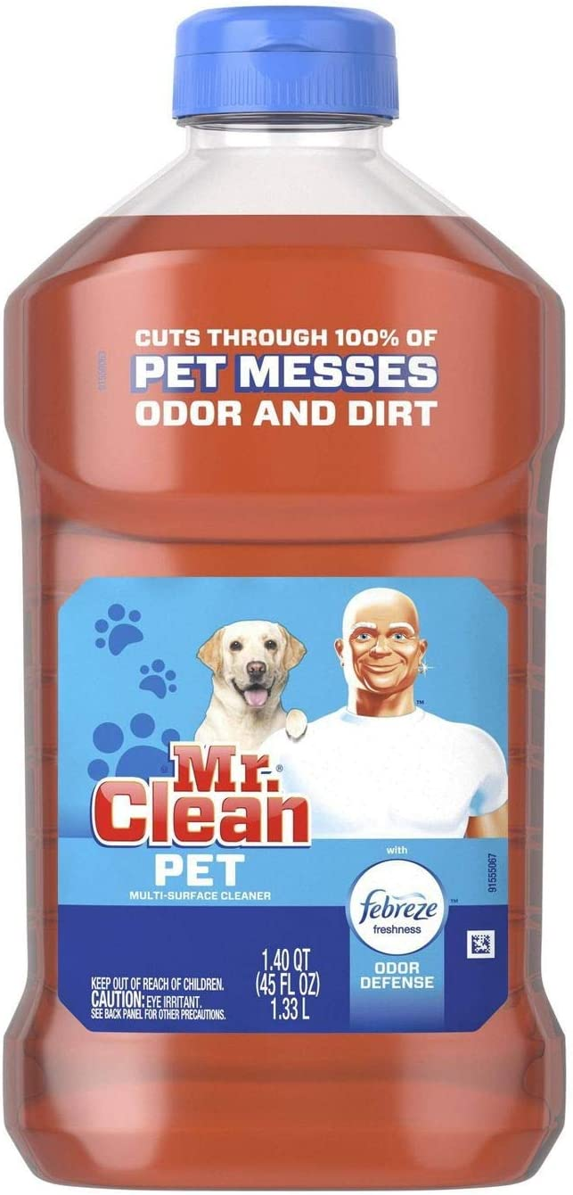 Mr. Clean All Purpose Multi-Surface Pet Liquid Cleaner with Febreze Odor Defense | Has Odor Converters | Eliminates Odor - 45 Ounce Bottle (Pack of 2)