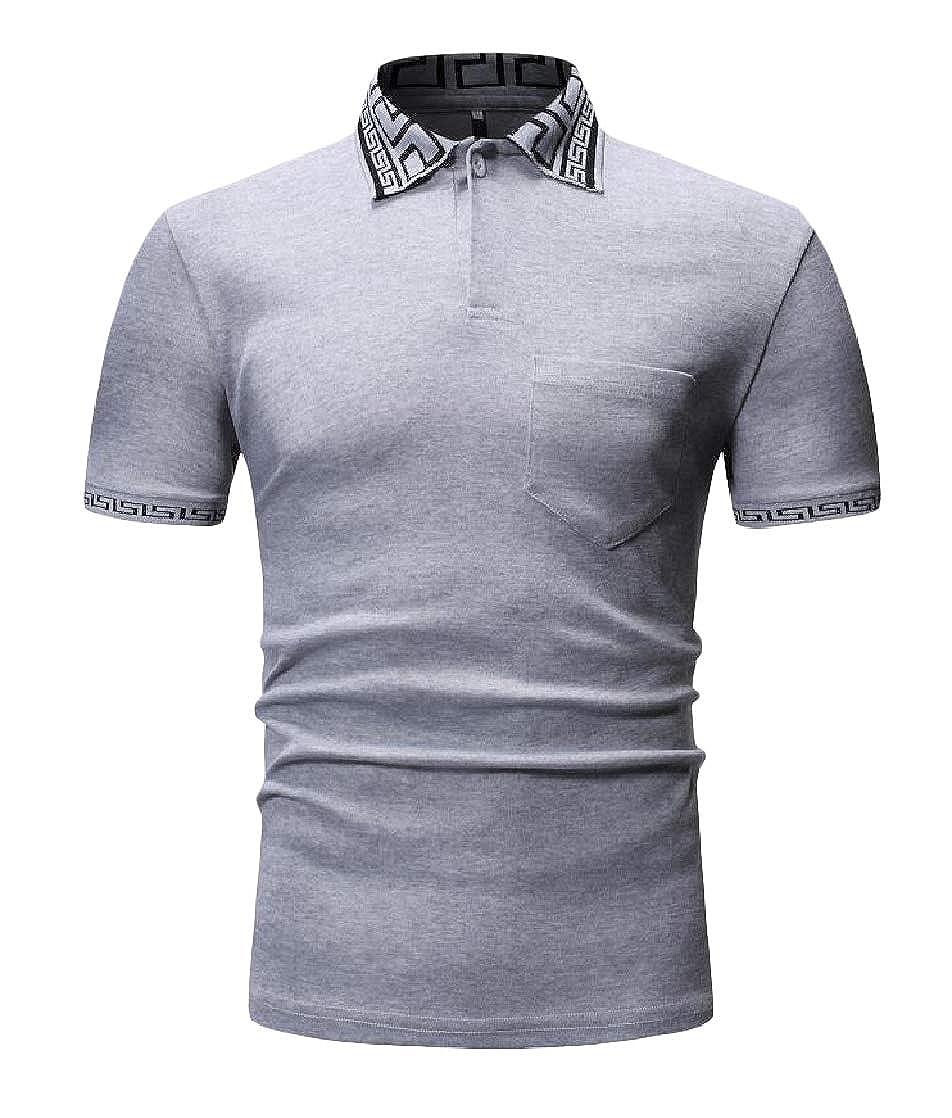Joe Wenko Men Vogue Tee Cotton Splice Top Short Sleeve Polos T-Shirt