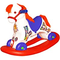 Bluday Ultima 2 in 1 Horse Rocker 'n' Ride on, Horse Rocker for 2 Year Kids, ABS Plastic, 2-5 Years, White Blue