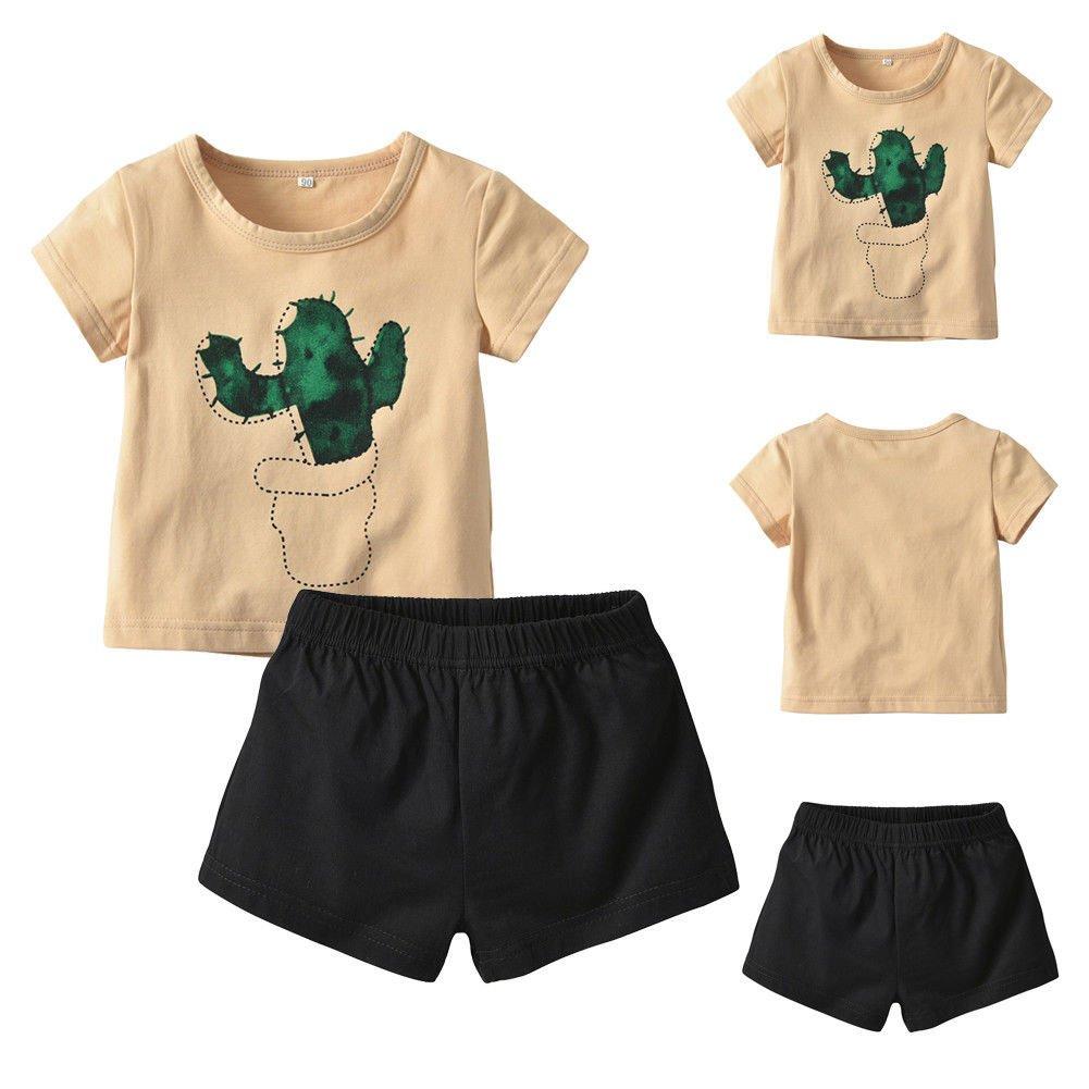 2PCs Toddler Baby Girl Cactus Tops Set Black Shorts Cute Tops Shorts Outfits Clothes Summer