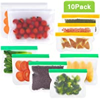 Reusable Sandwich Bags Ziplock Lunch Carry Bags 10 Pack Freezer Food Storage Bags Leakproof Airtight BPA FREE for Home Food Travel Picnic (2 Big Vegetable bags & 5 Sandwich Bags & 3 Snack Bags)