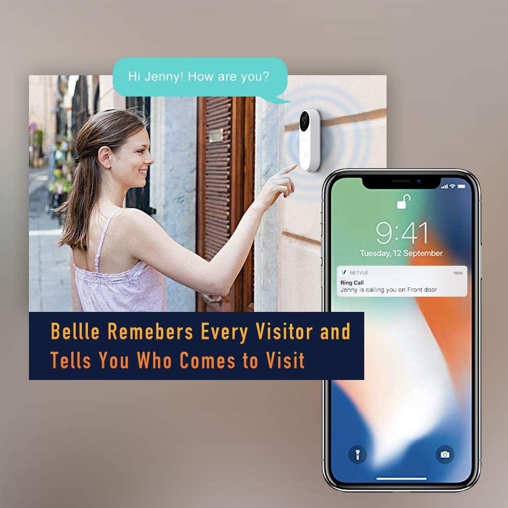 Video Doorbell, A.I. Wifi HD Camera Doorbell with Facial Recognition, Voice Interaction, Night Vision, Motion Detection, Wireless Doorbell, Push Notification, Compatible with Alexa Echo Show by NETVUE (Image #5)