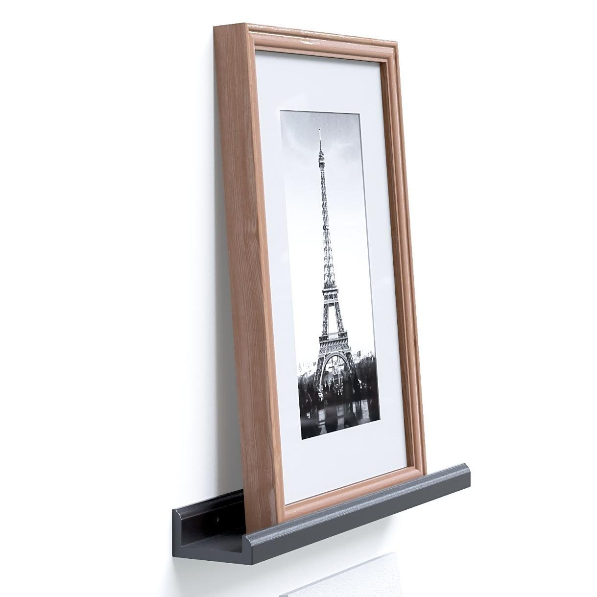 Wallniture Boston Contemporary 22 Inch Picture Ledge - Wall Mounted Floating Bookshelf for Kids Room (Black)