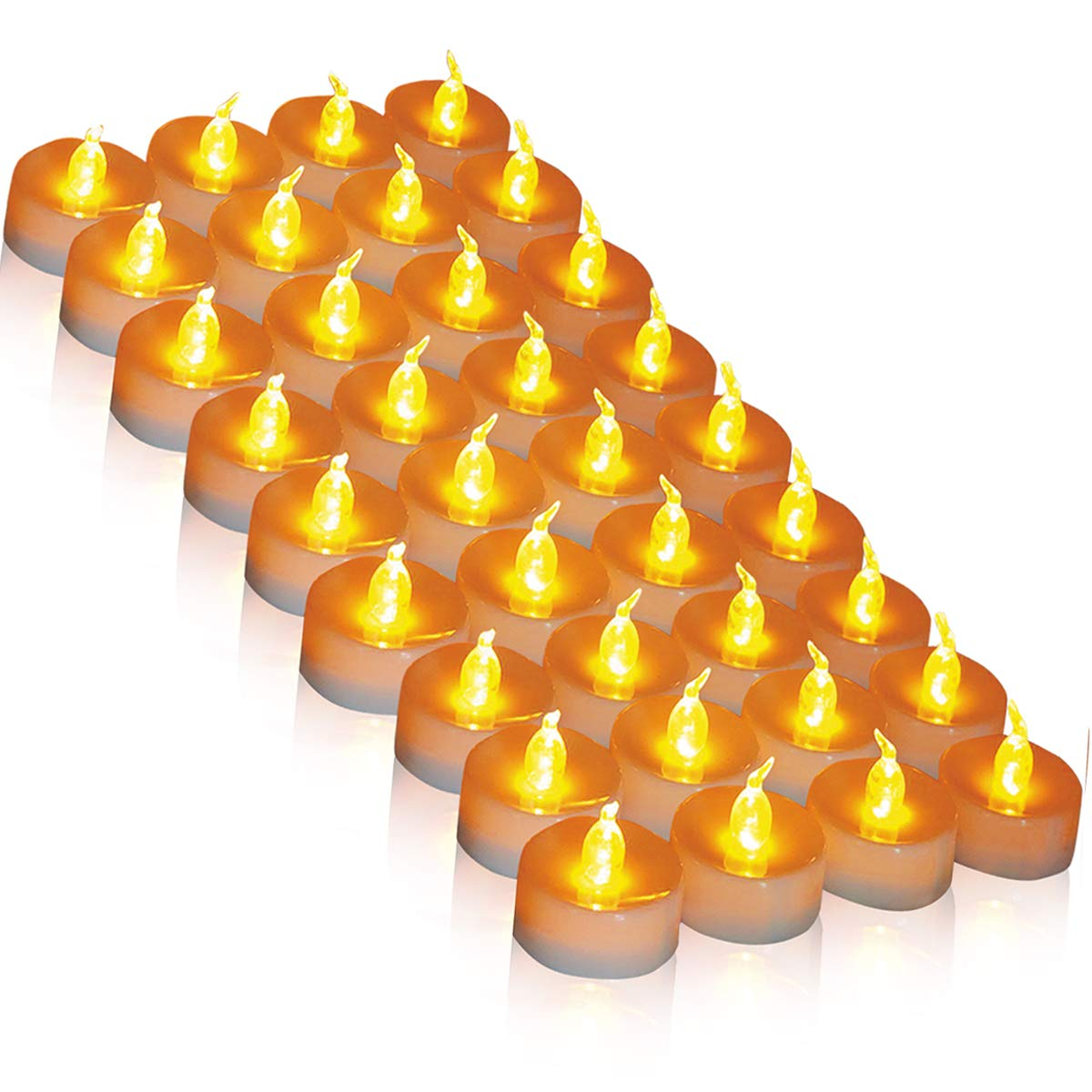 36 Pack Tea Lights LED Tea Light CandlesFlickering Flameless Candles Φ3.4 x H3.6 Battery Powered 100 Hours Warm Yellow 36 Pack