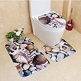 3Pcs/Set Cute Creative 3D Sea Ocean Fish Shell Animals Bathroom Rug Toilet Lid Cover Mat Set Non-Slip Cartoon Foot Mat Water Absorb Anti-Skid Carpet