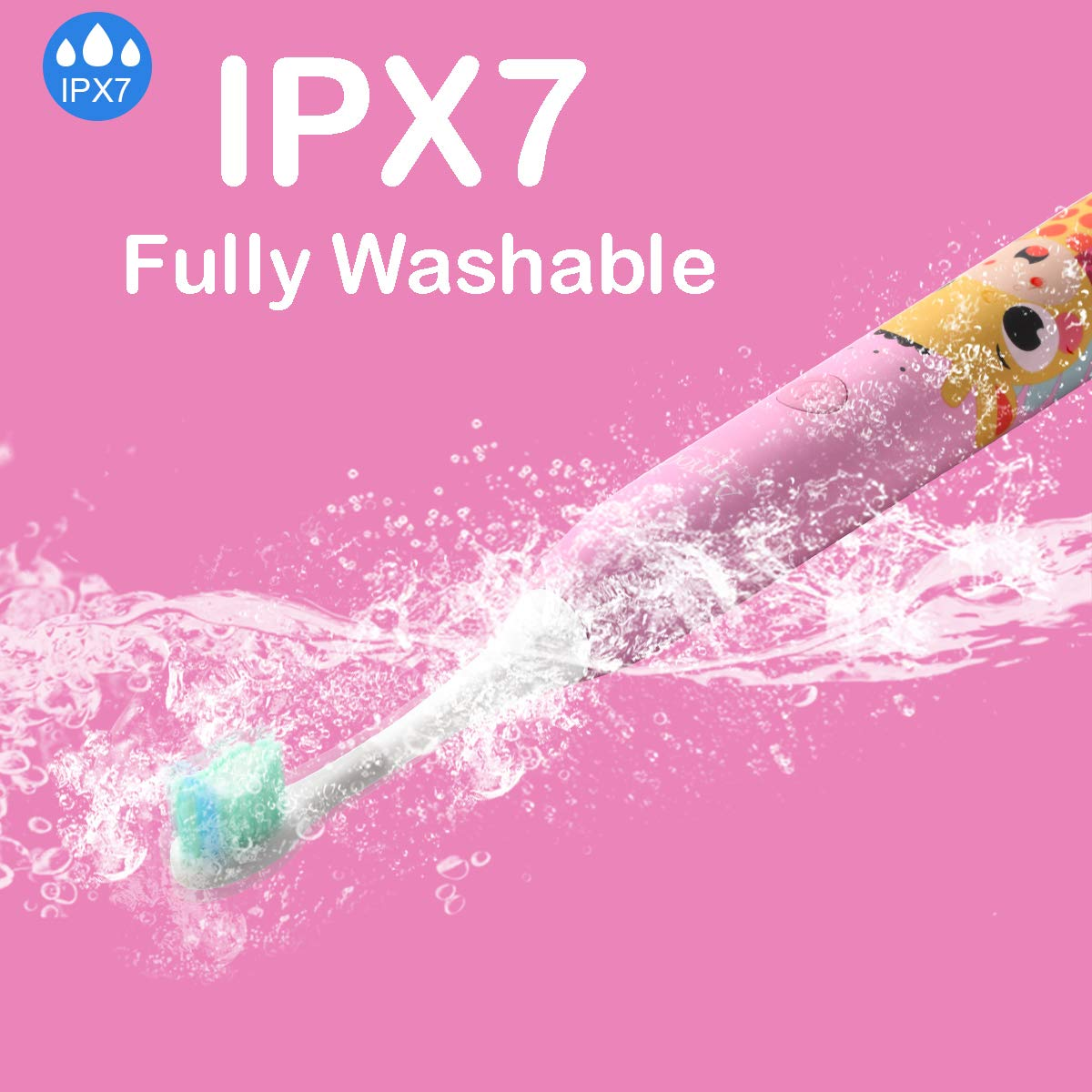 Apiyoo Kids Electric Toothbrush, A7 Sonic Wireless Rechargeable Toothbrush, IPX7 Waterproof with 3 Brushing Modes, 2 Min Smart Timer for Kids. (Pink) by Apiyoo (Image #7)