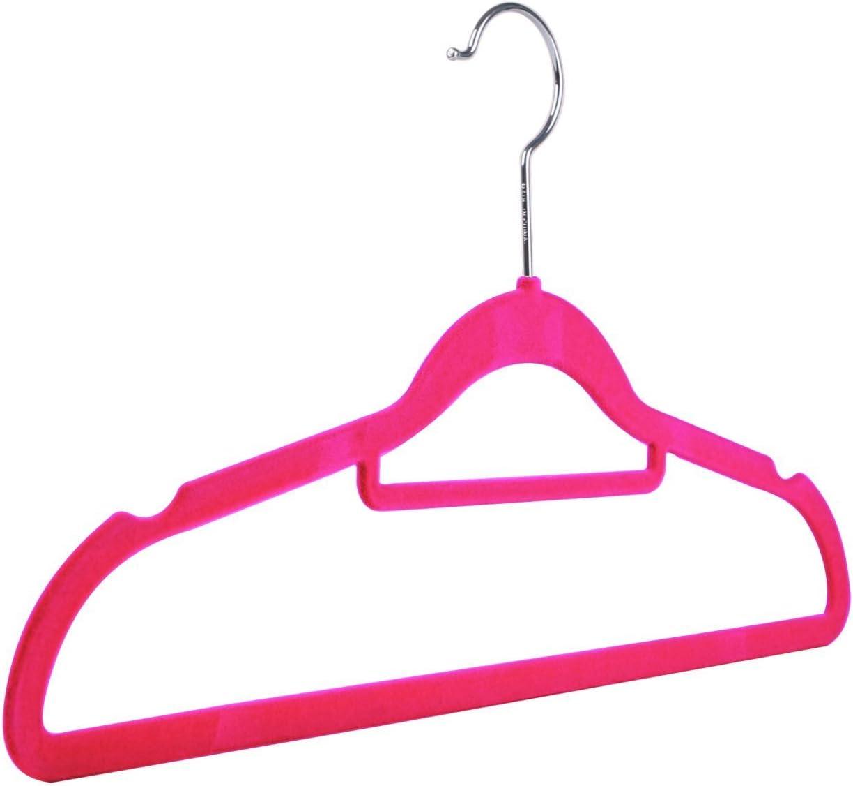 42 cm de terciopelo Perchas con barra para pantalones Rosa flocadas antideslizantes
