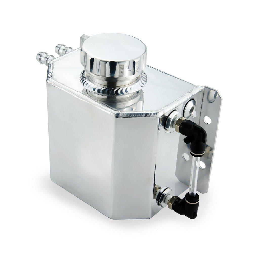 Heinmo Universal 1L Aluminum Auto Radiator Coolant Expansion Alloy Tank with Drain Plug 1000ml(Silver)