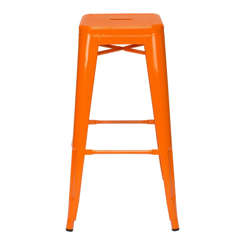 Tabouret Industriel m/étallique Brillant Vaukura Tabouret Haut Tolix Orange