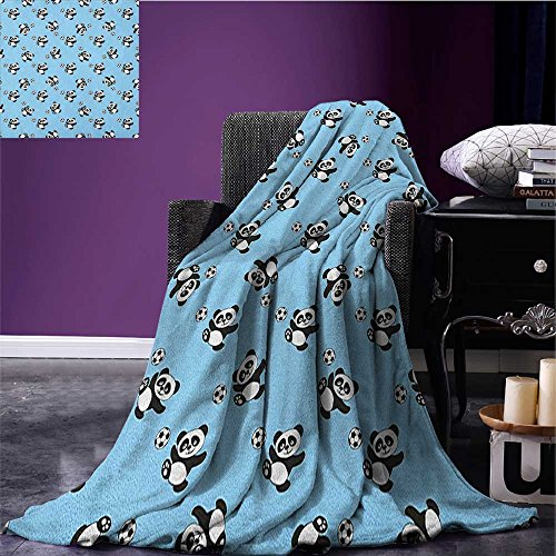 Soccer picnic blanket Cute Panda Player Kicking a Ball Kids Boys Design Fun Animal Pattern soft throw blanket Pale Blue Black White size:51''x31.5'' by BarronTextile