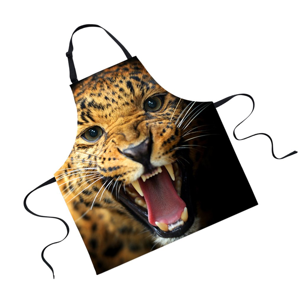 Jili Online Funny Animal Printed Aprons for Men Party Animal Baking Kitchen Chefs Gift - Leopard by Jili Online