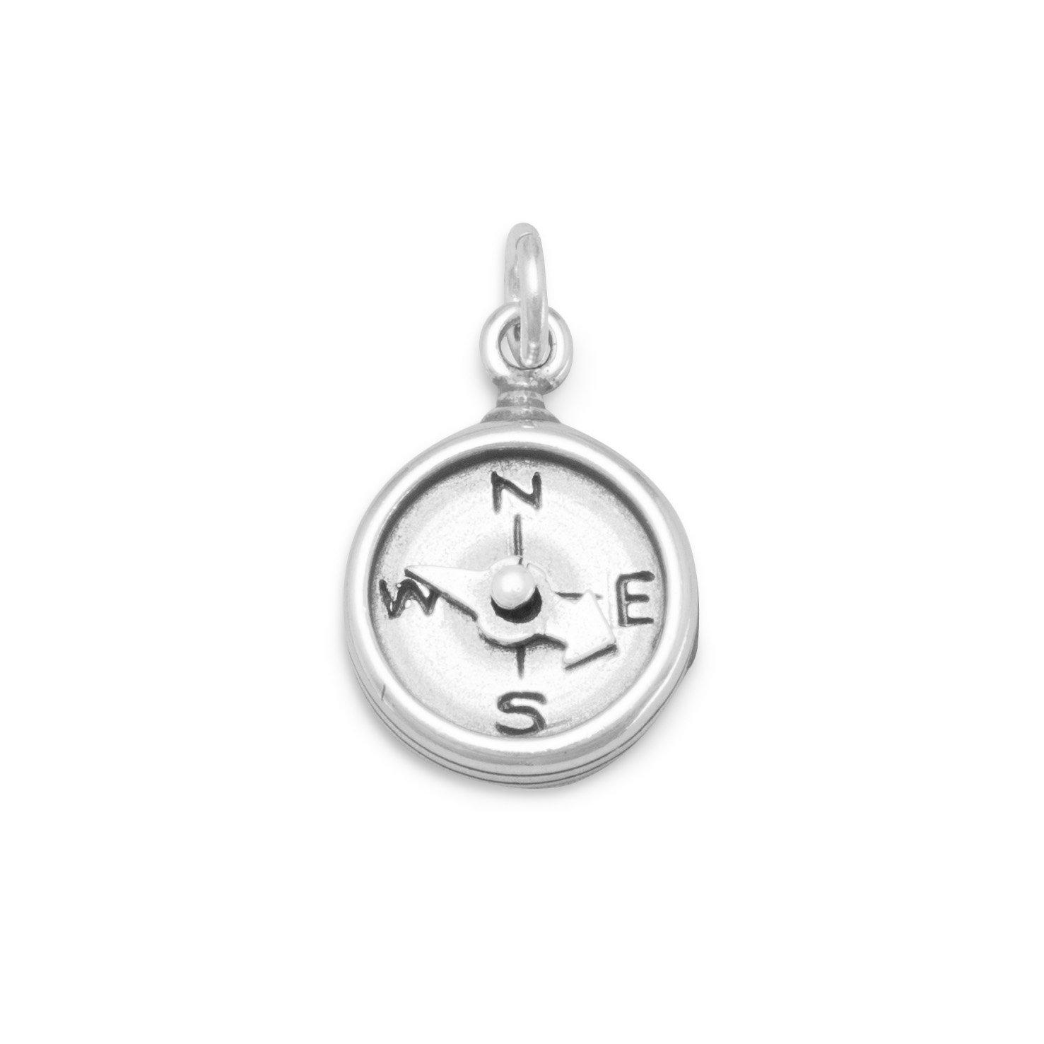 oxidiert Sterling Silber Kompass Charme Spinning Nadel Maßnahmen 12mm Charm hängt 19mm