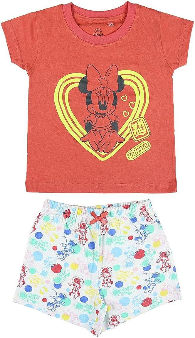 Cerdá Pijama Que Alumbran En La Oscuridad Niña de Minnie Mouse-Camiseta + Pantalon de Algodón Juego Niñas