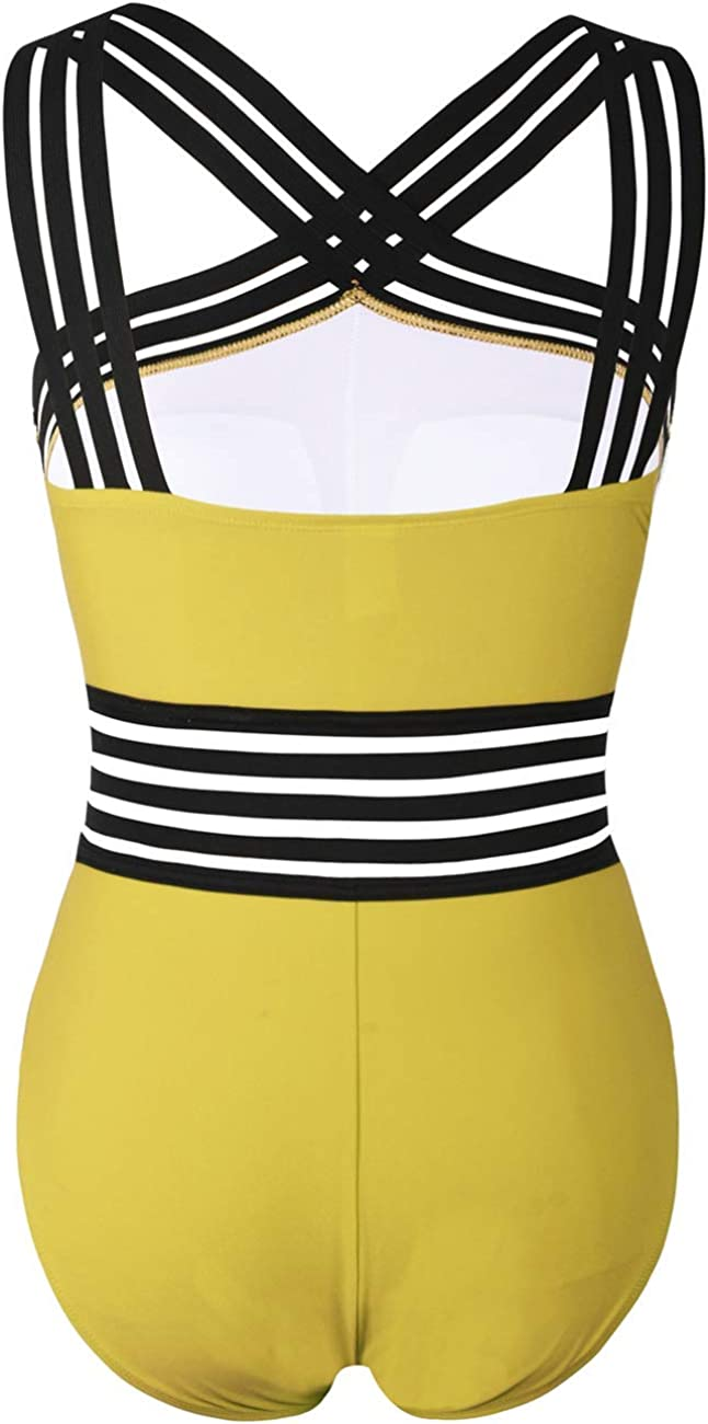 Hilor Women's One Piece Swimwear Front Crossover Swimsuits Hollow Bathing Suits Monokinis Yellow