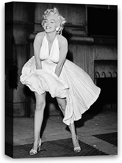 MARILYN MONROE IN RED DRESS  PICTURE  PRINT ON  FRAMED CANVAS WALL ART DECOR
