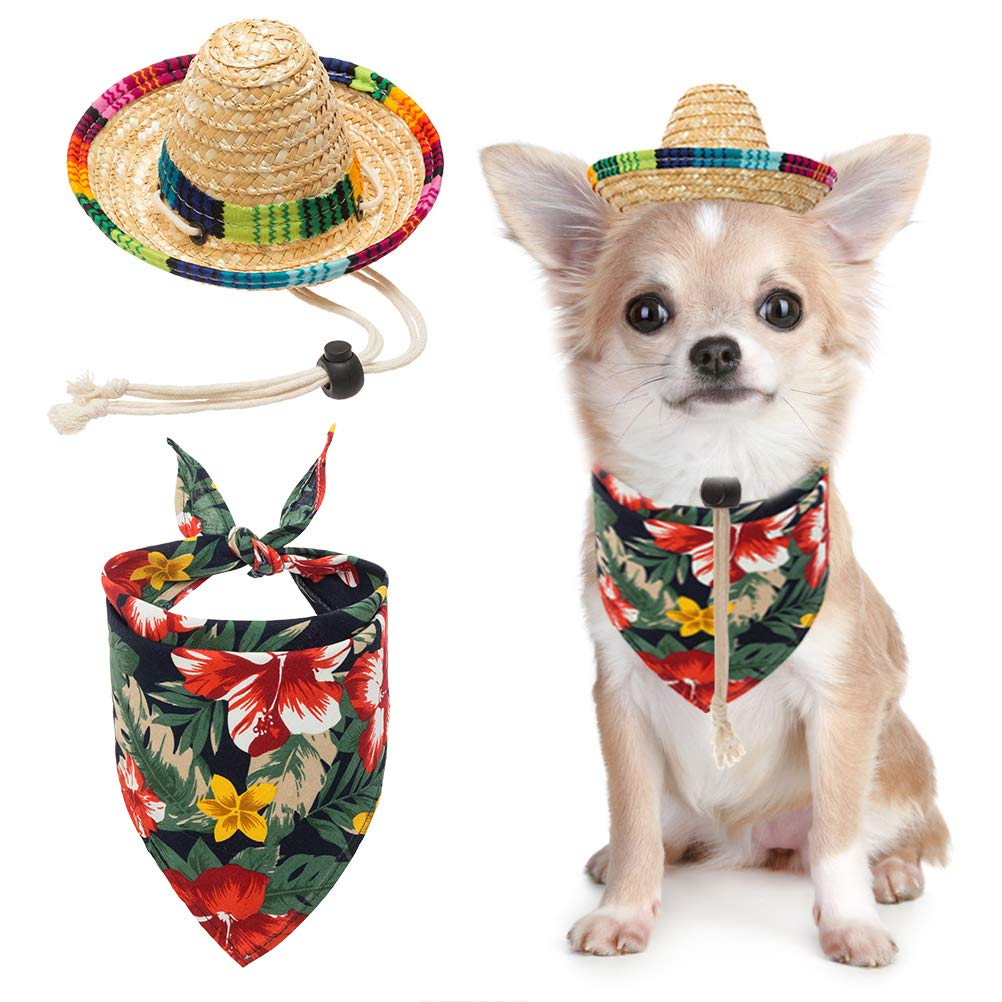 BINGPET Dog Sombrero Hat with Bandana Hawaii Style, Party Hats Sun Hat Beach Mexican Hat for Small Dogs by BINGPET