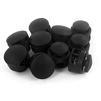 Xeminor 10 Pcs Durable 2 Hole Cord Locks Stopper Spring Plastic Toggle Stoppers Round