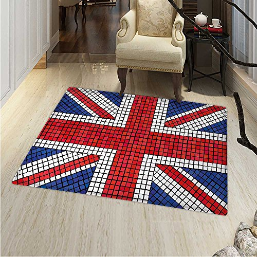 Union Jack Area Rug Carpet Mosaic Tiles Inspired Design British Flag National Identity Culture Living Dinning Room Bedroom Rugs 3'x4' Royal Blue Red White