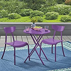 Great Deal Furniture Lucy Outdoor Bistro Set, Matte Purple
