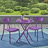 Cheap Great Deal Furniture Lucy Outdoor Bistro Set, Matte Purple