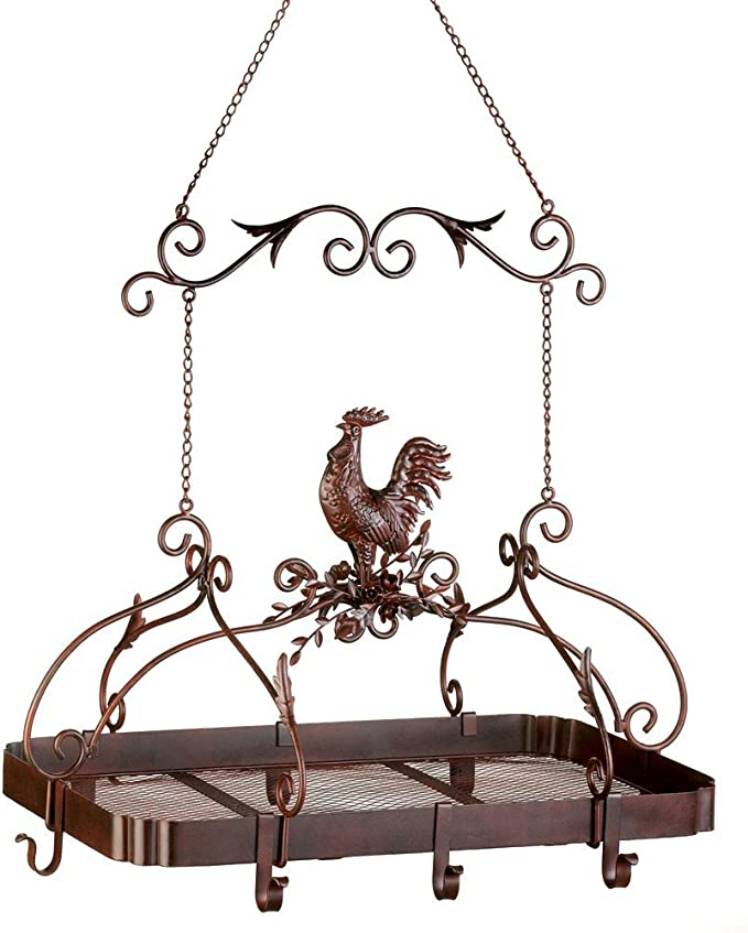 """Amazon.com: Country Rooster Kitchen Rack 10x10x0.75"""": Kitchen Pot Racks: Kitchen & Dining"""