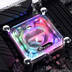 Bykski Transparent Acrylic CPU Water Cooling Block for Intel LGA115X LGA2011 X99 AMD Ryzen ThreadRipper 7/Ryzen 5/ Ryzen 3 (Intel CPU Block)