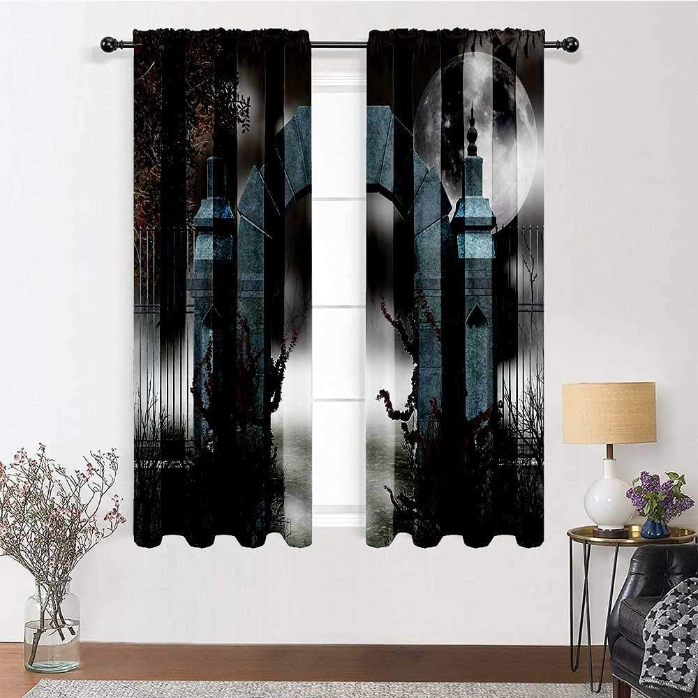 "Farmhouse Curtains Gothic Decor Collection Printed Drapes Scary Medieval Middle Age Stone Gate with Fog Full Moon and Ivy Dark Night Theme Artwork 2 Panels 96"" x 84"" Grey Red"