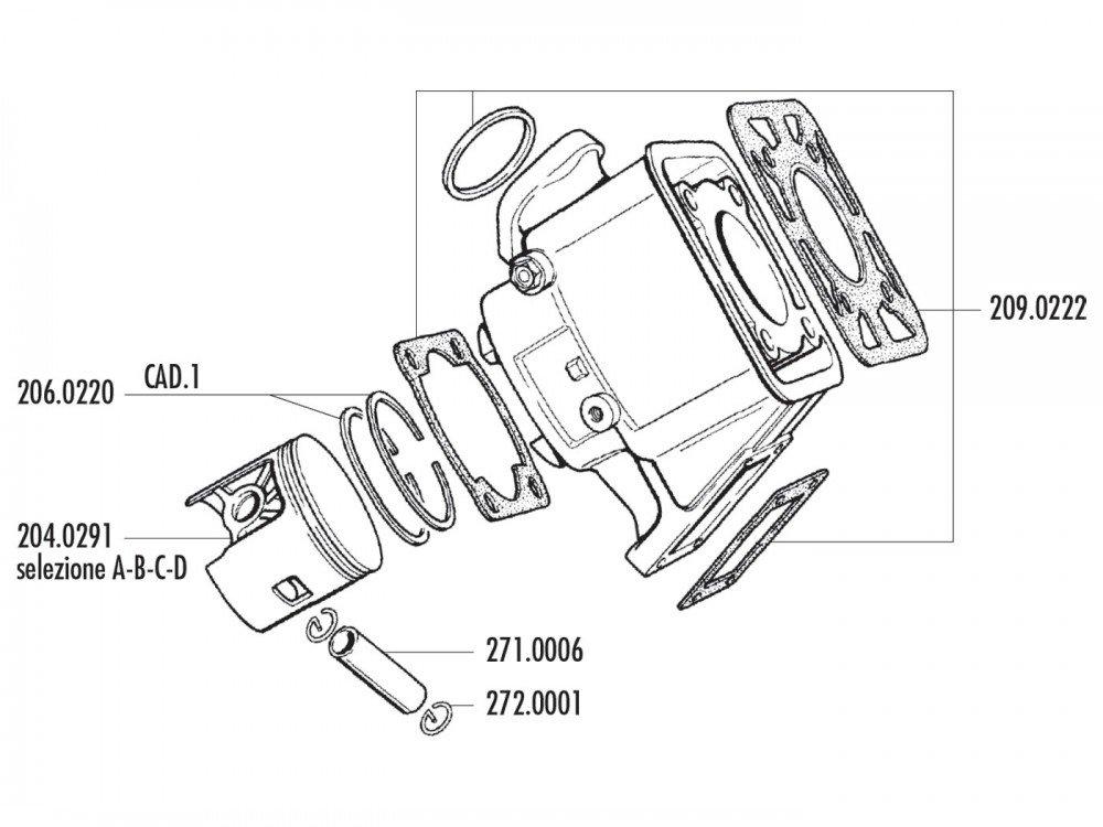 Zylinder Dichtungssatz Polini 100ccm f/ür Yamaha DT 80 LC