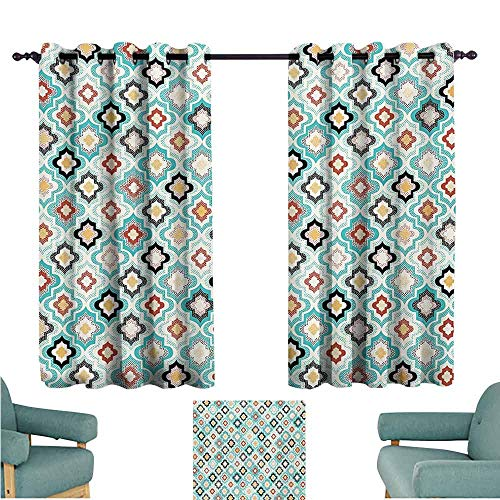 DONEECKL Decor Curtains Geometric Vintage Ottoman Style Floral Design with Old Fashion Heraldic Tiles Artistic Image Light Blocking Drapes with Liner W55 xL63 Aqua - Heraldic Designs Cd