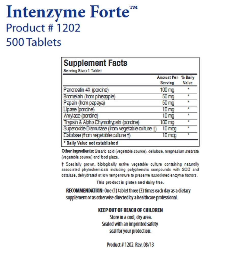 Biotics Research Intenzyme Forte -- 500 Tablets