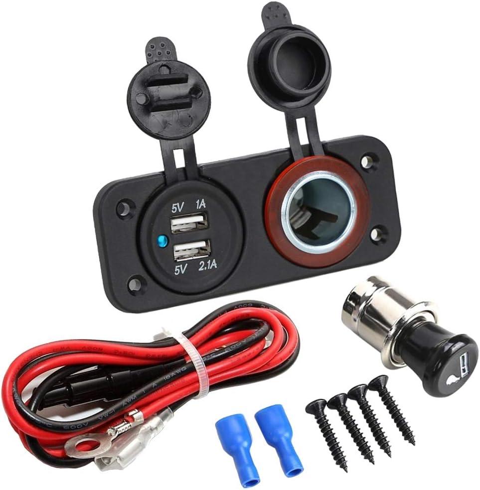MMOBIEL Cargador Dual USB Universal contra Agua con 2 Ranuras y LED. Ent: 12V-24V Sal: 5V 2.1A. para Encendedor eléctrico de Alta Velocidad para automóviles y más vehículos. Incl. Kit de cableado.