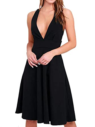 14c2661935 SYTX Womens Deep V Neck Sleeveless Cocktail A Line Pleated Evening Midi  Dress Black XS