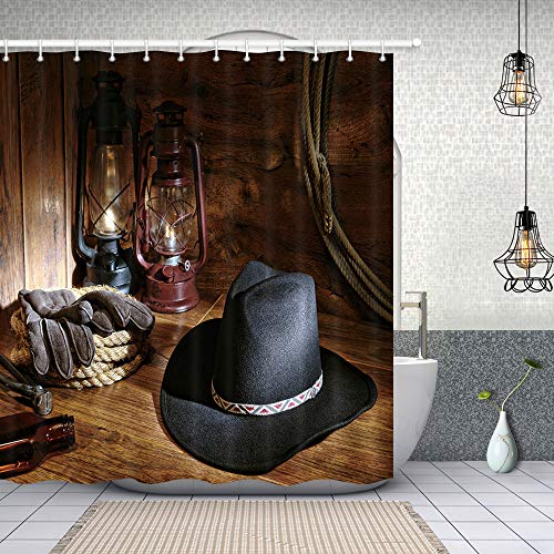 NYMB Western Barn Shower Curtain, American Country Western Cowboy Hat and Lamp on Rustic Wooden, Polyester Fabric Farm House Bathroom Shower Curtains, 69X70in]()