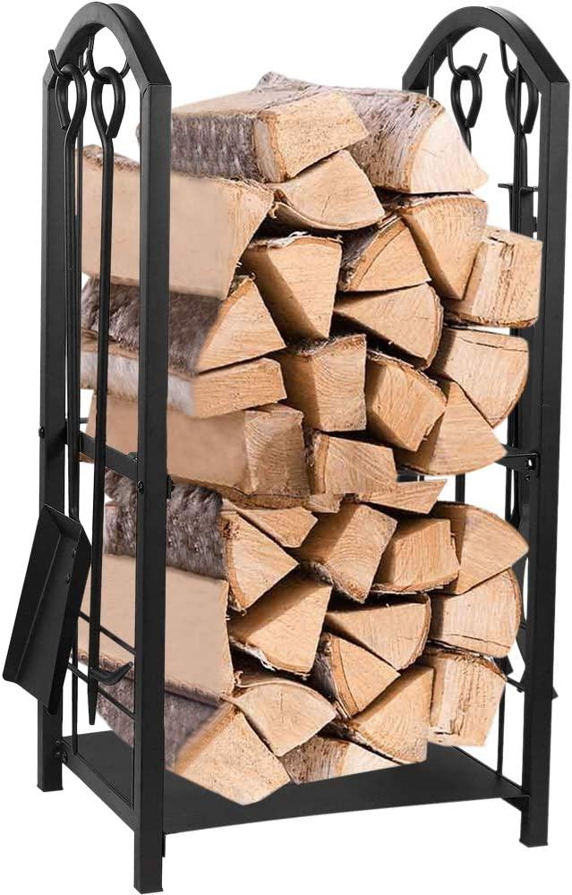 Juvale Firewood Rack with 4 Fireplace Tools – Fireplace Log Holder for Indoor and Outdoor Use, Iron Fire Log Holder Storage Set Includes Brush, Shovel, Poker, and Tongs, 15 x 29 x 13 Inches